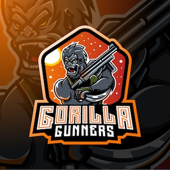 Горилла стрелков киберспорт талисман дизайн логотипа