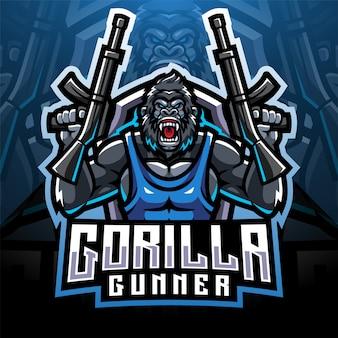 Горилла стрелков дизайн логотипа талисмана киберспорта