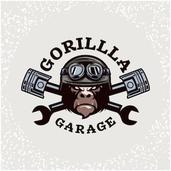 ゴリラヘッドの自動車修理とカスタムのガレージロゴ。