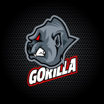 Gorilla head from side. can be used for club or team logo.