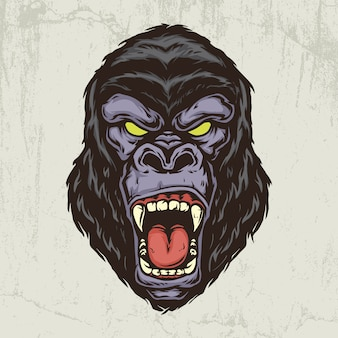 Gorilla head hand drawn illustration