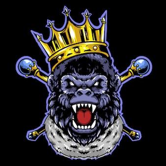 Король гориллы с короной и золотым талисманом