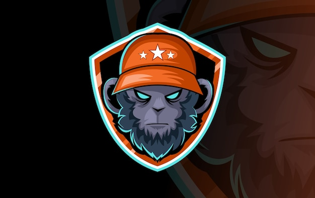 スポーツクラブやチームのゴリラの頭のロゴ。動物のマスコットのロゴタイプ。テンプレート。ベクトルイラスト。