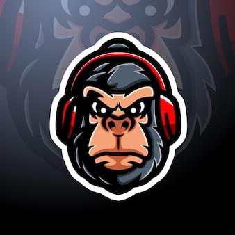 Дизайн логотипа талисмана головы гориллы киберспорт