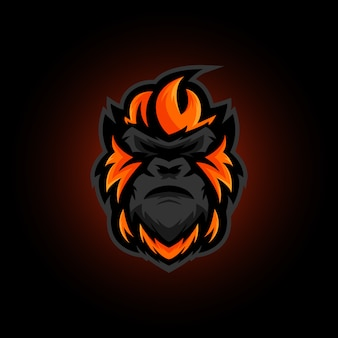 Gorilla head mascot logo design, gorilla gaming e sports logo