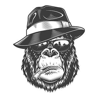 Gorilla head in monochrome style