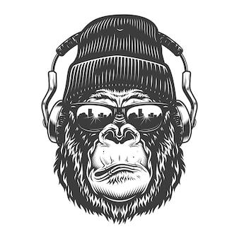 Testa di gorilla in stile monocromatico