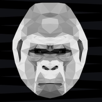 Gorilla head. nature and animals life theme background. abstract geometric polygonal triangle gorilla monkey pattern for design t-shirt, card, invitation, poster, banner, placard, billboard cover