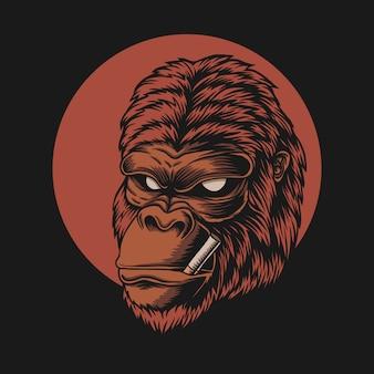 Gorilla head smoke illustration
