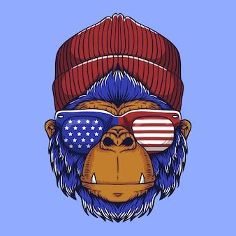 Gorilla head usa vector illustration