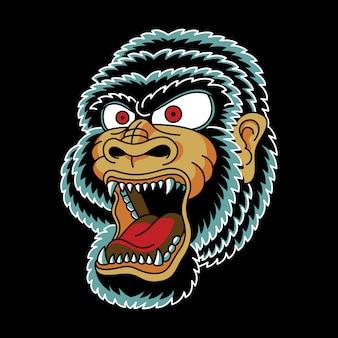 Gorilla head vintage tattoo illustration
