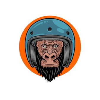 ヘルメットプレミアムベクトルを身に着けているゴリラの頭