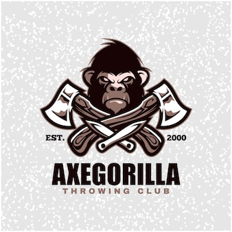 Gorilla head with axes and knifes, throwing club logo.