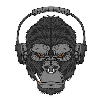 Gorilla headphone cigarette illustration