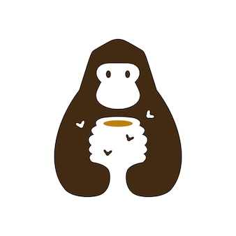 고릴라 꿀 하이브 꿀벌 부정적인 공간 로고 벡터 아이콘 그림