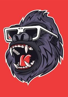 Иллюстрация гориллы в рисованной