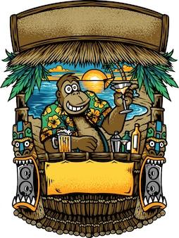 Горилла в баре на пляже