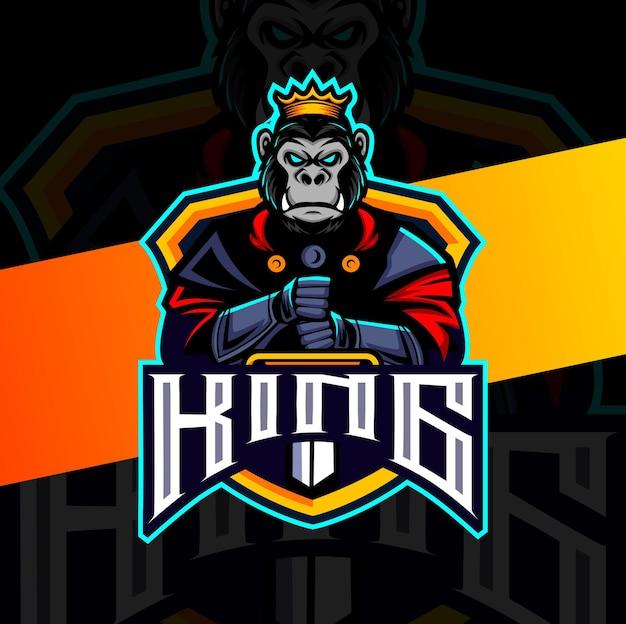 Gorilla king knight with sword mascot esport logo design character