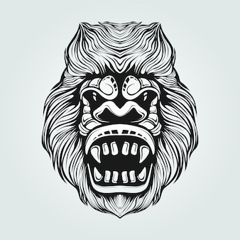 Gorilla line art black and white with decorative face