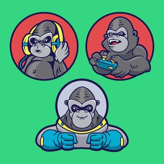 Gorilla listen to music, play games and become an astronaut animal logo mascot illustration pack