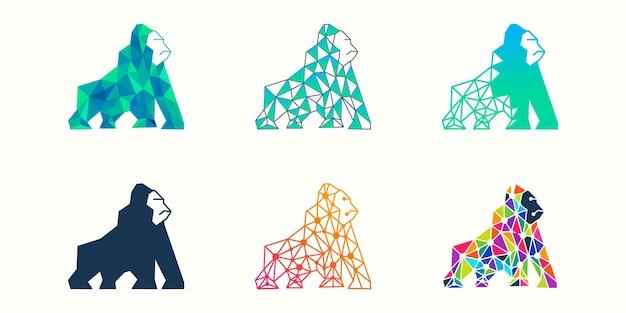 고릴라 로고 아이콘 설정 동물 기술 디자인 서식 파일 벡터