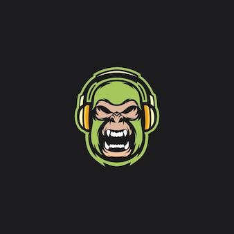 ゴリラのロゴが音楽を聴く