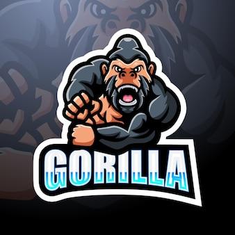 Горилла талисман киберспорт дизайн логотипа