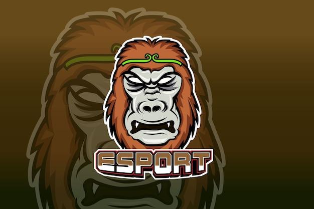 スポーツとeスポーツのロゴのゴリラマスコットマスコット