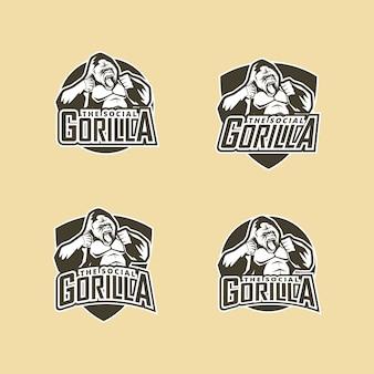 Gorilla mascot sport logo