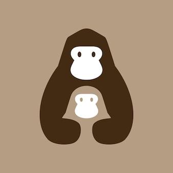 고릴라 엄마와 아들 부정적인 공간 로고 벡터 아이콘 그림