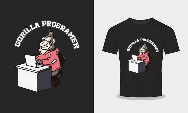 Иллюстрация программиста гориллы для дизайна рубашки
