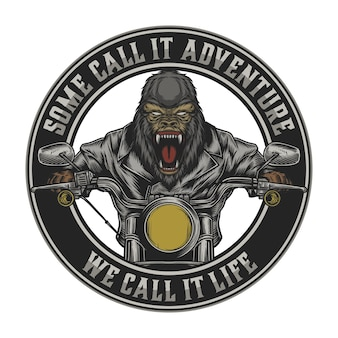Gorilla riding motorcycle in vintage . easy to change text