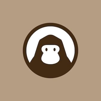Gorilla in round emblem logo vector icon illustration