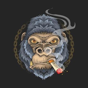 黒の背景にタバコの漫画イラストデザインを吸うゴリラの顔