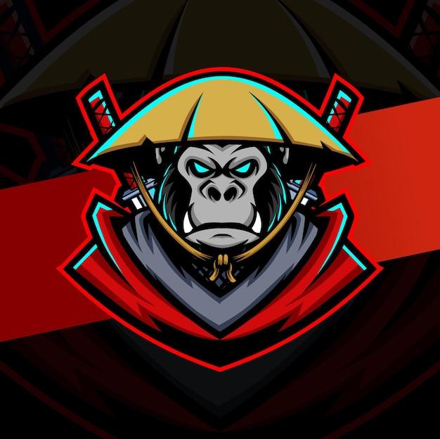 게임 및 스포츠 로고를 위한 Gorilla Samurai Ronin 마스코트 Esport 로고 디자인 프리미엄 벡터