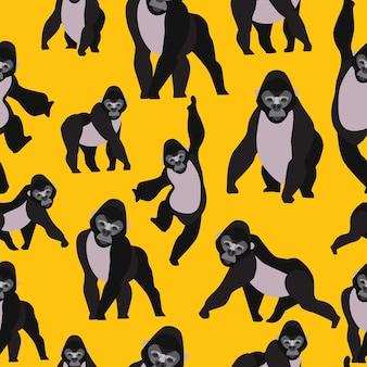 Gorilla seamless pattern