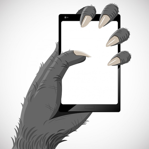 Gorilla and smartphone