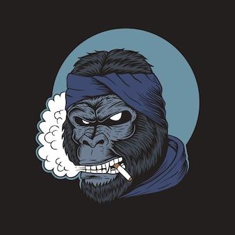 Gorilla smoke illustration