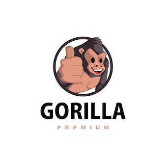 ゴリラがマスコットキャラクターのロゴアイコンイラストを打つ