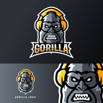 Gorilla using headset sport or esport gaming mascot logo template