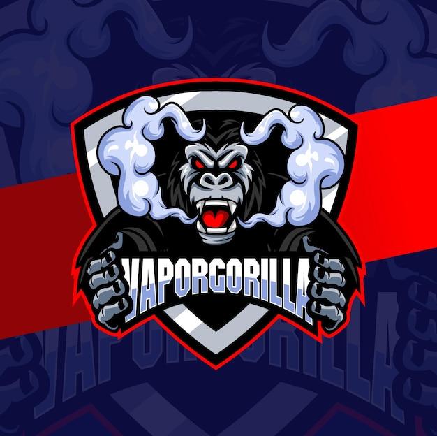 증기 저장소 및 게임을 위한 연기 마스코트 캐릭터 로고 esport가 있는 고릴라 증기