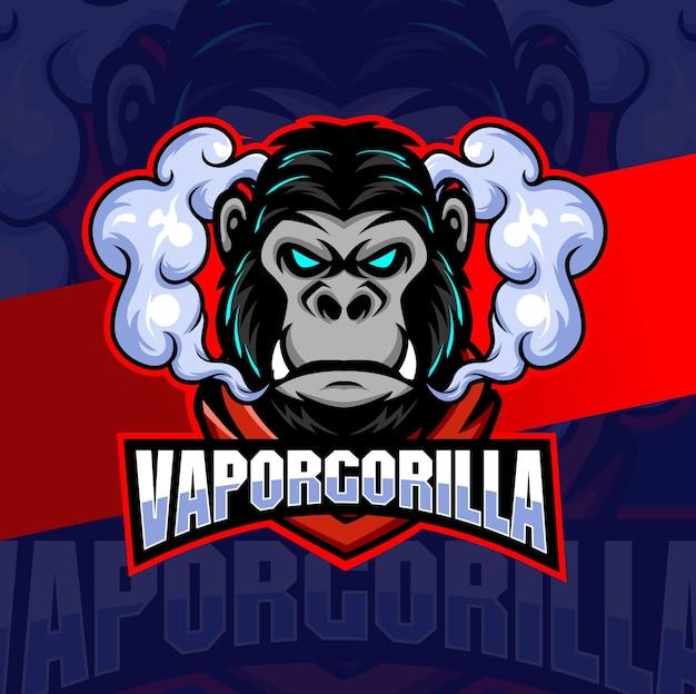 Gorilla vapor with smoke mascot character logo esport for vapor store and game