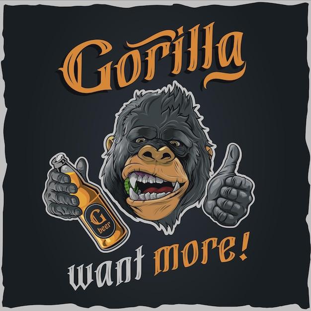 Gorilla want more - illustration for tshirt