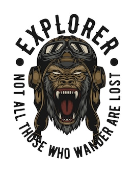 Gorilla wear a explorer helmet easy to change text and ready for any need