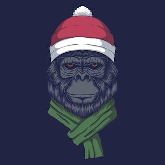 クリスマスにサンタの帽子をかぶったゴリラ
