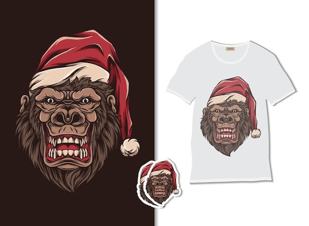 Tシャツのデザイン、手描きのサンタクロースの帽子をかぶったゴリラ