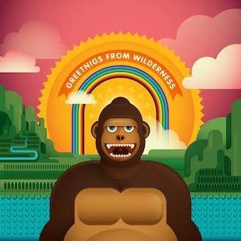 Gorilla in wilderness