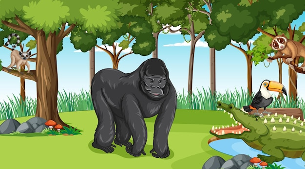 Gorilla with other wild animals in the forest or rainforest scene