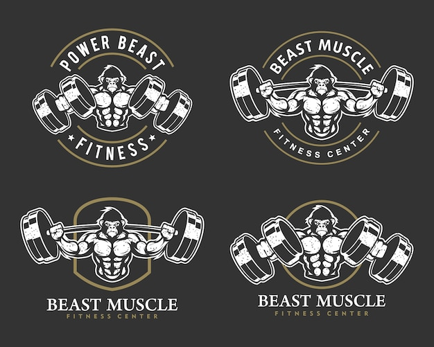 Gorilla with strong body, fitness club or gym logo set.