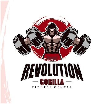Gorilla with strong body, fitness club or gym logo.